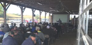 Presentation being given at the 2019 Beef Field Day event
