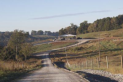 View down road toward heifer barn